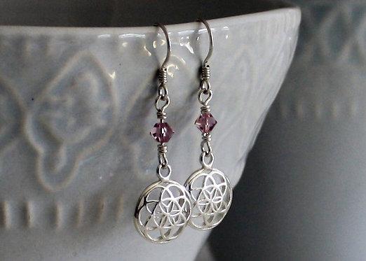 Sterling Silver Seed of Life Birthstone earrings, silver filigree