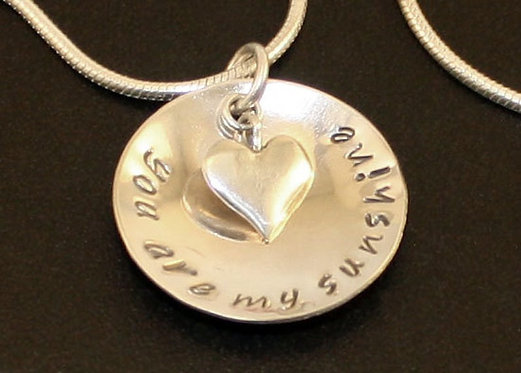 You are my sunshine necklace, personalized sterling silver necklace