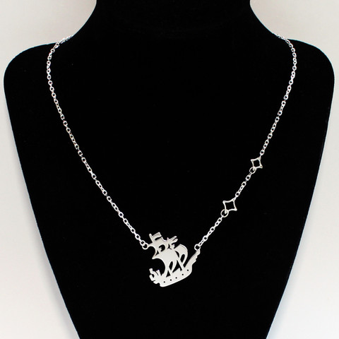 Captain Hook's Pirate Ship sailing away captured in silver