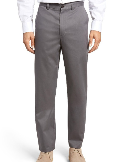 Relaxed Fit Flat Front Cotton Pants