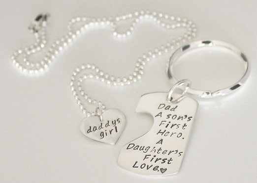 Fathers Day Gift Sterling Silver TWO SIDED Key Chain
