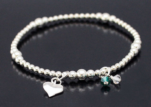 Silver heart personalized bracelet, Silver Stretch Bracelet, Sterling Silver