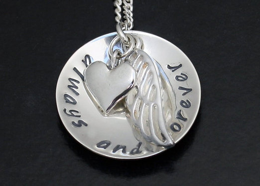 Angel Wing Personalized Necklace, Memorial necklace, sterling silver