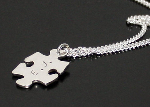 Sterling Silver Puzzle Necklace, TWO SIDED personalized puzzle pendant