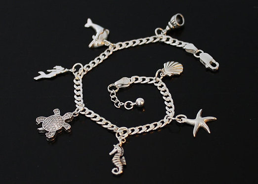 Ankle Chain Beach Theme Silver Anklet, Turtle, Shell, Starfish, Mermaid, Dolphin