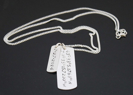 Mens Dog Tag necklace Personalized Sterling Silver Latitude Longitude