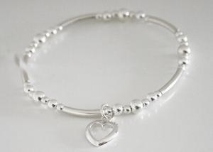 Heart Bracelet (Stretch) in Solid Sterling Silver