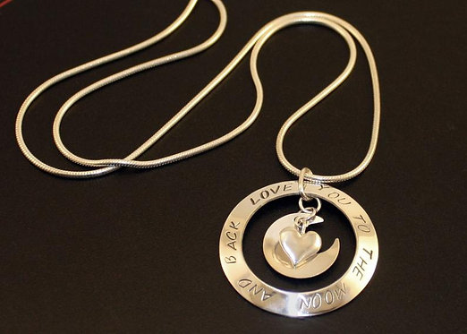 I love you to the moon and back, sterling silver pendant, moon and heart