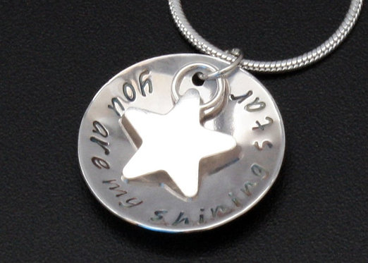 You are my shining star pendant with star, sterling silver pendant mothers day
