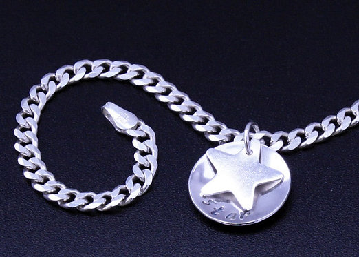Silver Star Bracelet, Sterling Silver Bracelet, Curb Chain, Mothers Day Bracelet