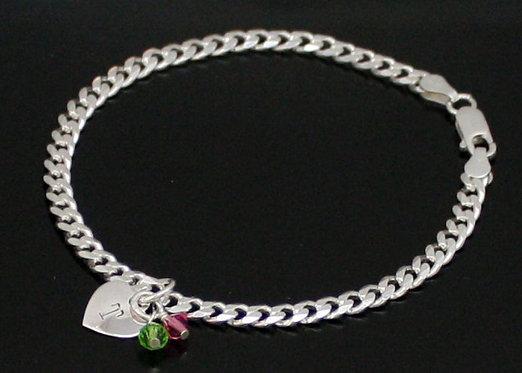 Sterling Silver Heart Initial Bracelet, Personalized Sterling Silver Bracelet