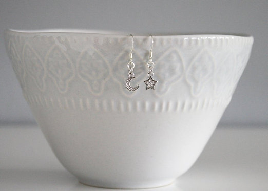 Tiny Crescent Moon and Star Earrings Free Shipping