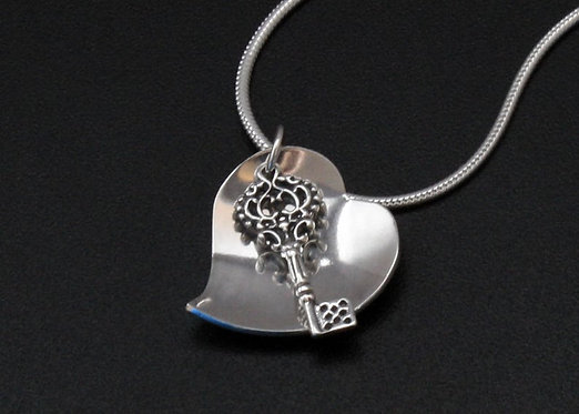 Key and heart pendant, sterling silver, key to my heart valentine necklace