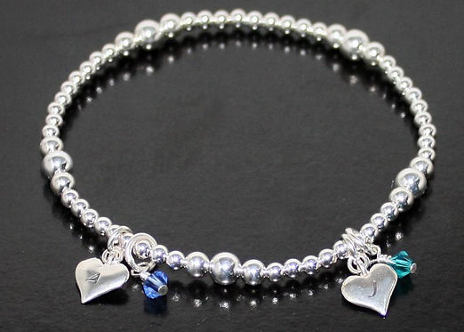 Mothers Day Bracelet Sterling Silver personalized initial hearts Stretch