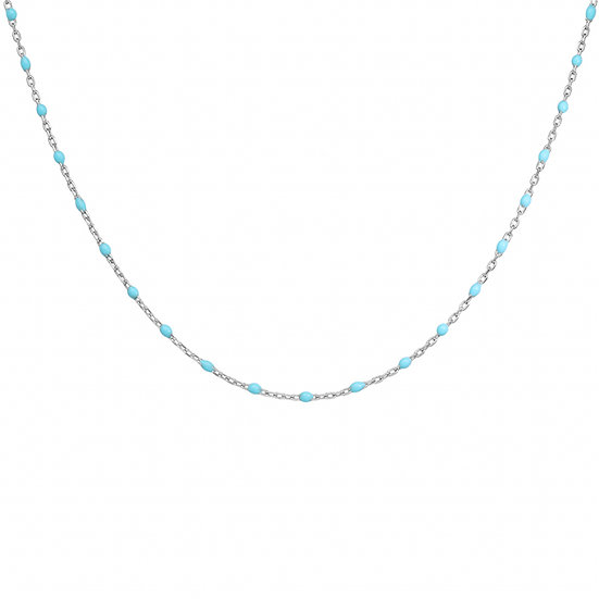 COLLIER ARGENT RESINE TURQUOISE