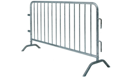 Key Features The barricades are available in the dimensions of Width 2.5 m and Height 1.2 m.  Comes with anti trip feet, these police barriers are slip or fall resistant.  Perfectly suitable for barricading and crowd control during your events, conferences, exhibitions and concerts.  Make your product selection and experience a smooth and effortless process of hiring police barriers. Delivery charges are indicative and may vary.  Police barriers from the renowned brand are available on rent at RentSher. Offering best quality products at nomina Fixed Leg Pedestrian Barrier Our 2.3m fixed leg pedestrian barrier is generally used to segregate areas at events and control the flow of the general public.  This one-piece barrier stands 1.2m high from the ground and interlocks with hooks and eyes to produce a solid barrier line. The panels have offset feet making them easy to stack when not in use. They are specifically designed to be erected and dismantled quickly and to make handling easier.