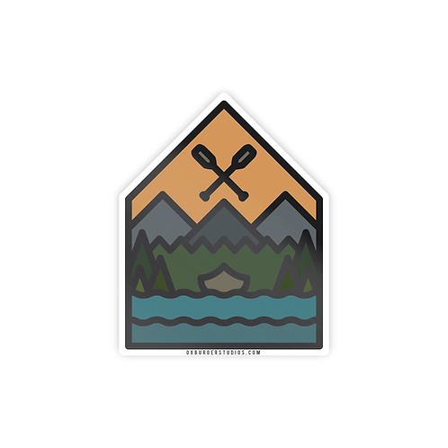 Sunset Canoe Sticker