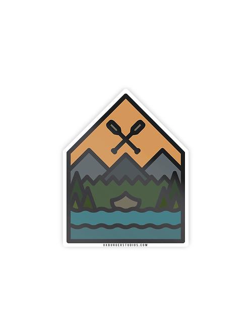 Sunset Canoe Sticker