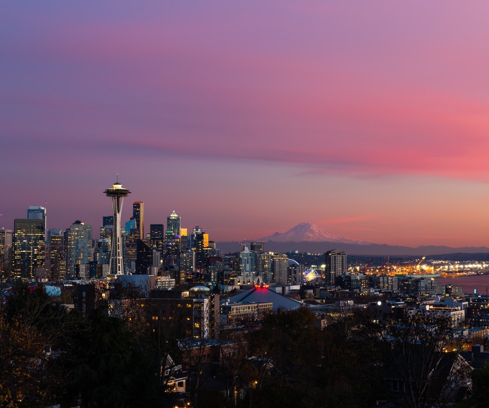 Seattle City Composite with water color.