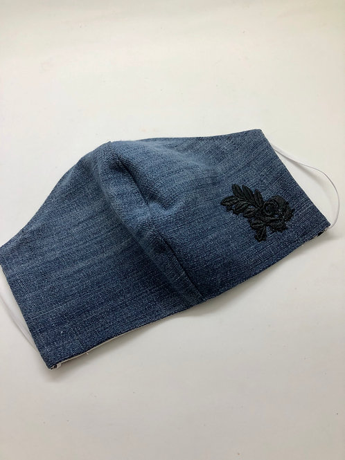 Locally handmade Denim Mask with Black Rose Embroidery