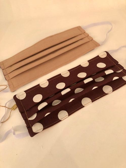 REVERSIBLE Locally handmade Fabric Mask-Brown with white dots &Taupe