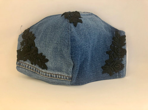 Locally Handmade Denim Mask with Black Floral Embroidery