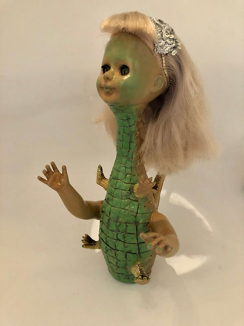 """Gator Woman"" assemblage art piece"