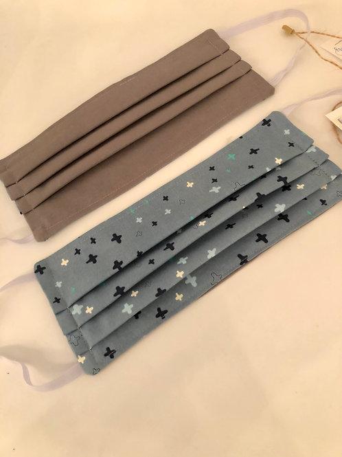 REVERSIBLE Locally Handmade Fabric Mask- Light Blue Cross & Grey