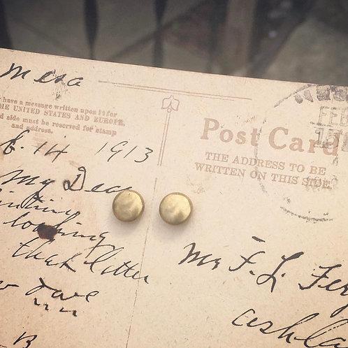 Tiny Brass Dot Stud Earrings