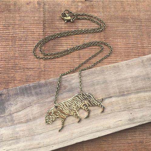 Vintage Brass Tiger Necklace