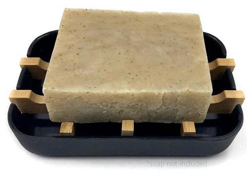 100% Plant Based Bamboo Soap Dish- Black