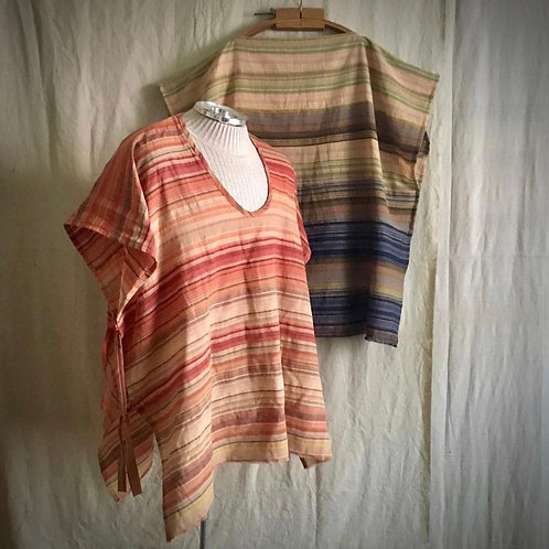 Side Tie Red/Orange Poncho Top