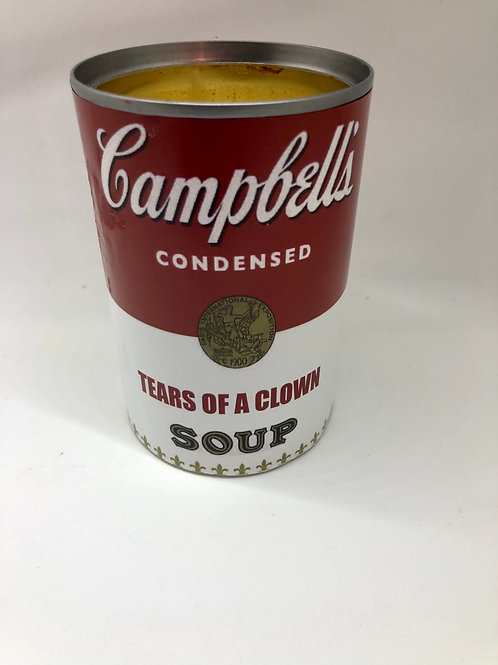 Up-cycled Campbell's Soup Soy Candle- Tears of a clown