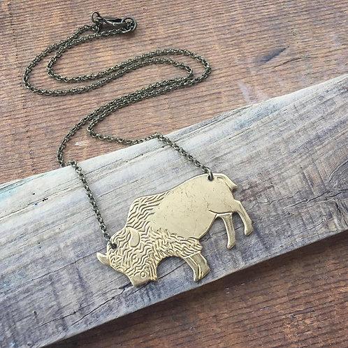 Brass Buffalo Necklace