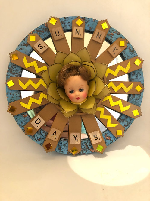 """""""Sunny Days"""" doll assemblage wall art"""