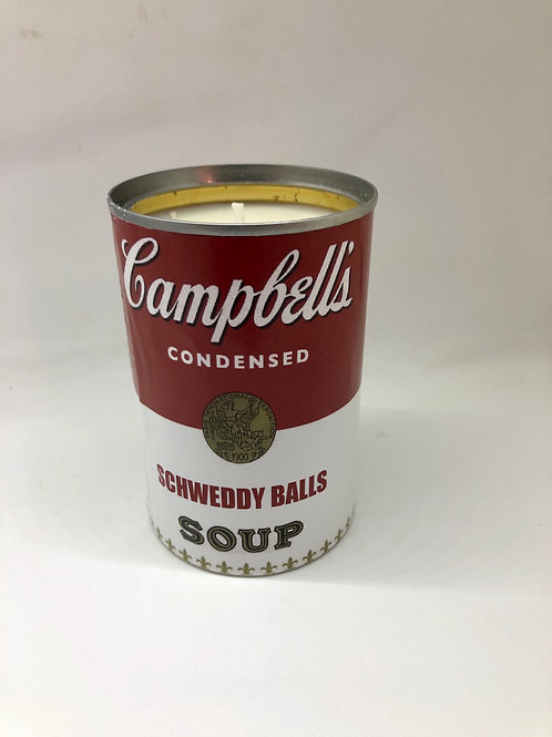 Up-cycled Campbell Soup Soy Candle- Schweddy Balls