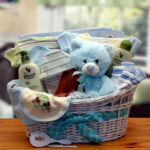 Deluxe Organic New Baby Basket - Blue 890551-B
