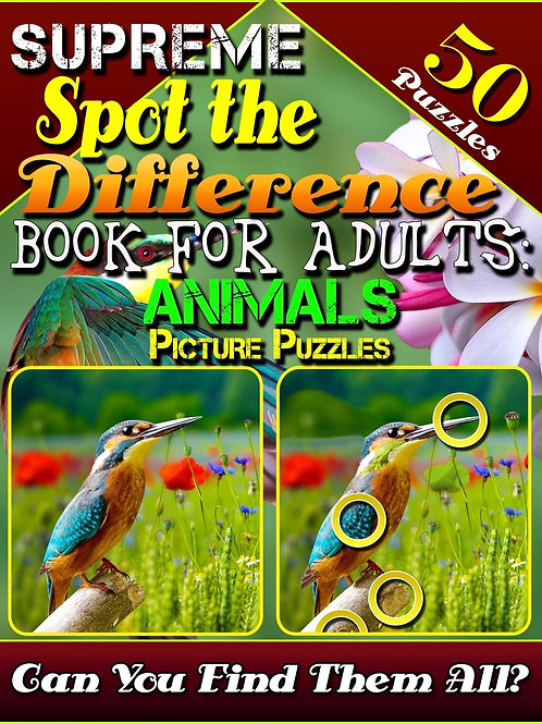 Spot the Difference Book for Adults: Animal Picture Puzzles