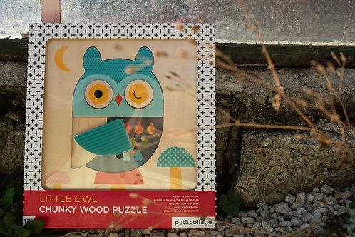 Dřevěné puzzle sova Petit Collage