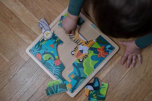 Dřevěné puzzle Džungle Djeco