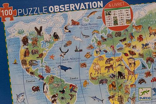 Puzzle Observation 100 dílků -Zvířata světa