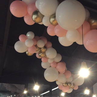 Chrome gold, pink and white suspended garland