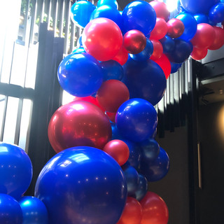 Blue and Red Stairwell Garland