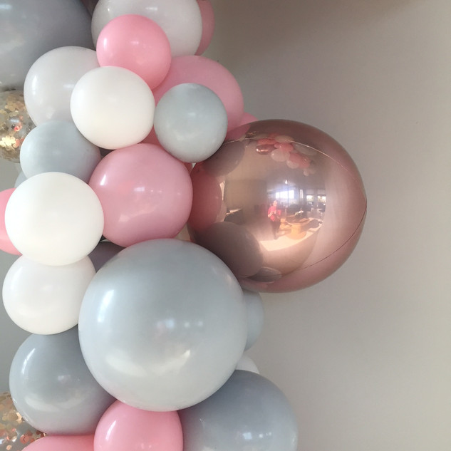 Baby shower garland white, pink, gray and rose gold