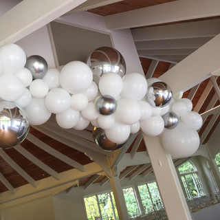 White with silver balls
