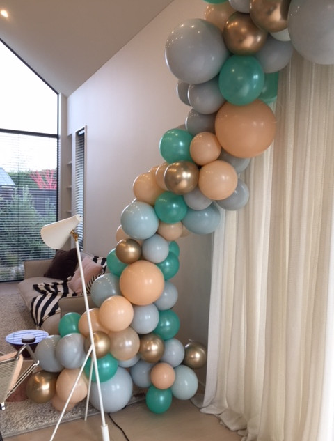 Organic garland with gray, green, blush and gold