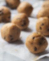 Chocolate chip cookie dough balls on bak