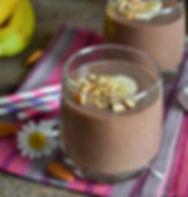 Chocolate smoothie with banana, oatmeal,