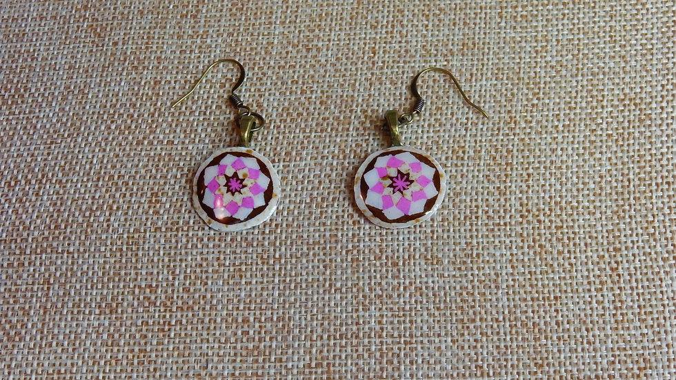Pink White Star Earrings
