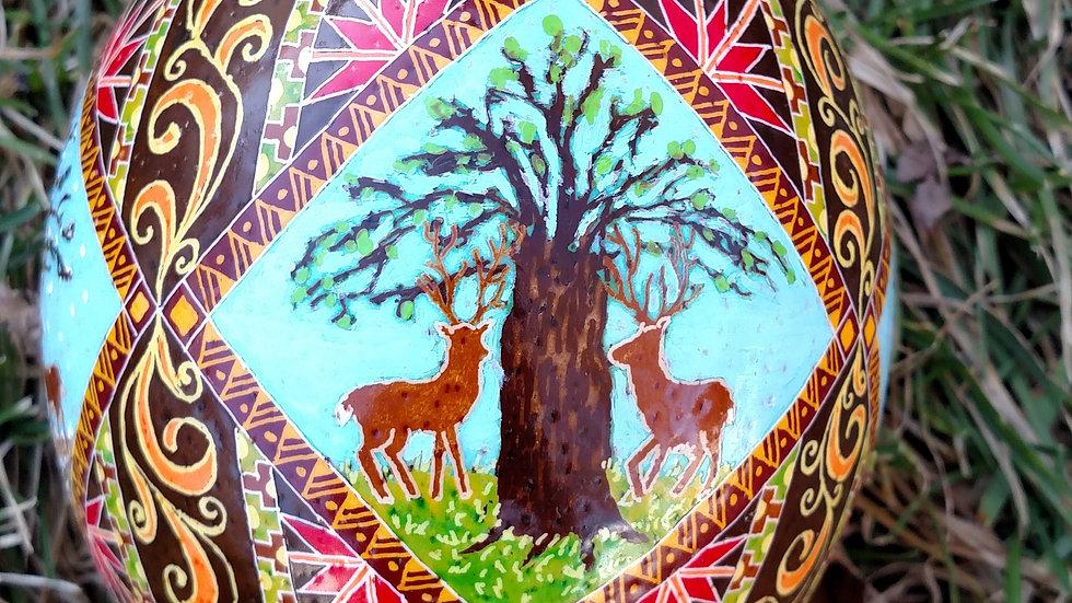 Ostrich Egg - Deer 4 Seasons